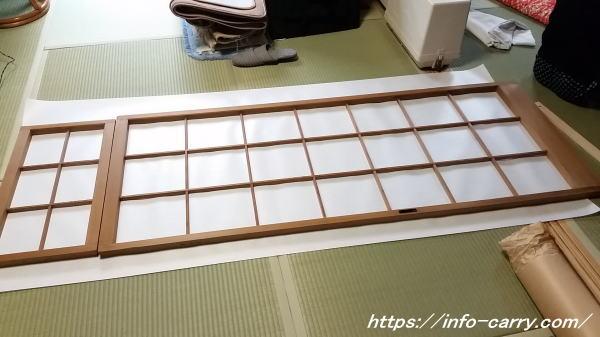 プラスチック障子紙の寸法を測る
