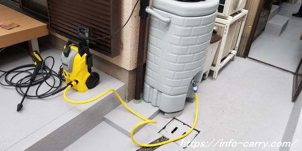 雨水タンクに高圧洗浄機をつなげてみた